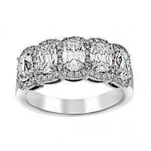 Henri Daussi Five Stone Oval Diamond Halo Wedding Band
