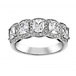 Henri Daussi Five Cushion Diamond Halo Band