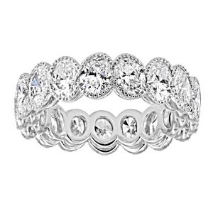 TWO by London Oval Diamond Milgrain Halo Eternity Band