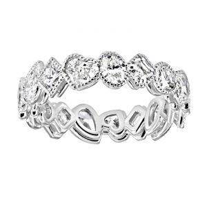 TWO by London Mixed Shape Diamond Milgrain Eternity Band