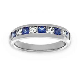 TWO by London Blue Sapphire And Princess Diamond Wedding Band