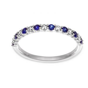 Martin Flyer Alternating Sapphire And Diamond Wedding Band