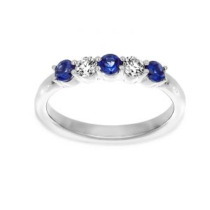 Martin Flyer Four Prong Sapphire And Diamond Wedding Band