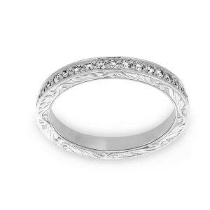 Penny Preville Pave Diamond Engraved Wedding Band