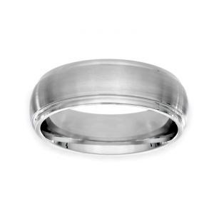 TWO by London Plain Edge Satin Center Wedding Band