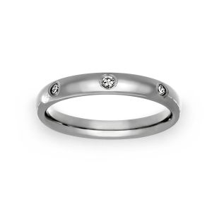 Benchmark 3mm Comfort Fit Bezel Set Diamond Wedding Band