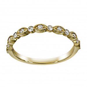 Henri Daussi Alternating Marquise Round Diamond Wedding Band