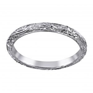 Single Stone Natalie Scroll Engraved Wedding Band