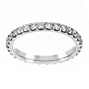 TWO by London Shared Prong Round Diamond Eternity Wedding Band