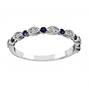 Henri Daussi Alternating Diamond And Blue Sapphire Wedding Band