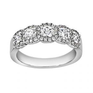 Henri Daussi Five Stone Round Diamond Halo Wedding Band