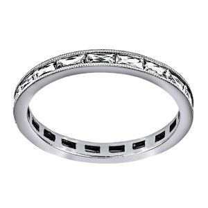 Single Stone Emma French Cut Channel Diamond Eternity Band