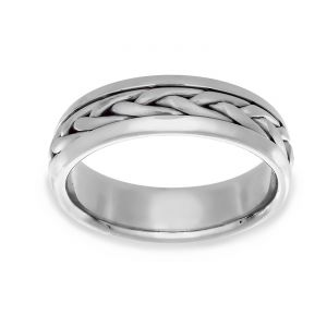 TWO by London Braided Wheat Center Wedding Band