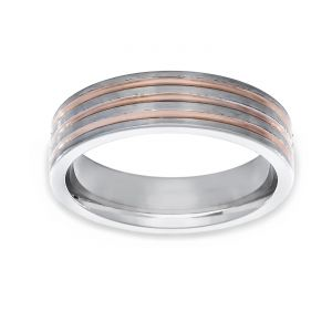 TWO by London Two Tone Wide Band Flat Three Polished Lines Wedding Band