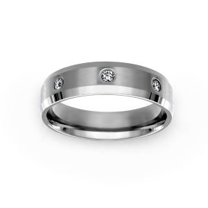 Benchmark 6mm Comfort Fit Bezel Set Diamond Wedding Band