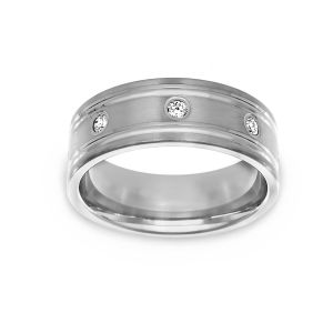 Benchmark Engraved Edge Diamond Wedding Band