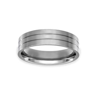 Benchmark Satin Double Etched Wedding Band