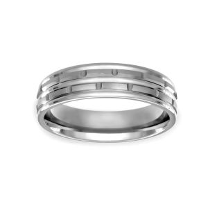 Benchmark Chain Link Carved Design Wedding Band
