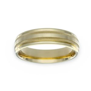 Benchmark 6mm Comfort Fit Double Milgrain Wedding Band