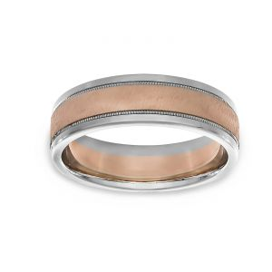 TWO by London Two Tone Satin Center Milgrain Polished Edge Wedding Band