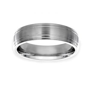 TWO by London 6mm Double Ridged Wedding Band