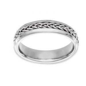 TWO by London Braided Center Polished Edge Wedding Band