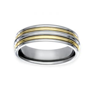 TWO by London Two Tone 6.5mm Alternating Polished Wedding Band