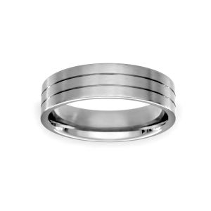 Benchmark Double Etched Satin Wedding Band