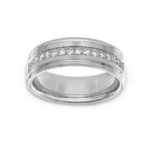 Benchmark Diamond Satin Wedding Band