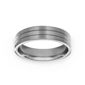 Benchmark Wide Double Etched Wedding Band